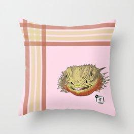 Bearded Dragon Plaid Throw Pillow