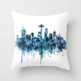 Seattle Skyline monochrome watercolor Throw Pillow