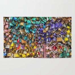 Pastel colored love locks in Paris | Noriko Aizawa Buckles Rug