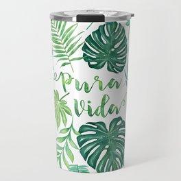 Tropical Pura Vida Palm Leaves and Monstera Watercolor Travel Mug