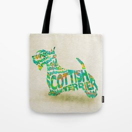 Scottish Terrier Dog Typography Art / Watercolor Painting Tote Bag