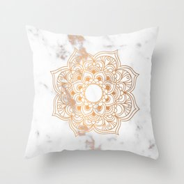 Copper flower mandala - marble Throw Pillow