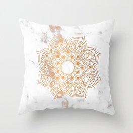 Copper flower mandala - marble Throw Pillow
