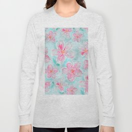 Hand painted teal fuchsia watercolor floral Long Sleeve T-shirt