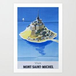 Mont Saint-Michel Vintage Travel Poster Art Print