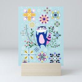 Happy Raccoon Card Mini Art Print