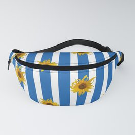 Sunflowers on Blue Stripes Fanny Pack