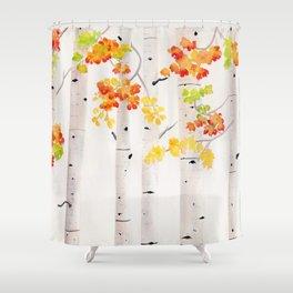 Autumn Birch Song Shower Curtain