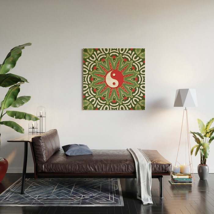 Red Yin Yang Sun Festive Mandala Wood Wall Art