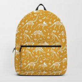 Dinosaur Fossils on Mustard Yellow Backpack