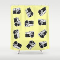cameras Shower Curtains featuring little cameras by Alice Dol