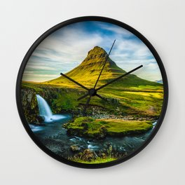 Triple waterfalls of Kirkjufell in Iceland I Wall Clock