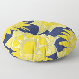 Sunshine yellow navy blue abstract floral mandala Floor Pillow