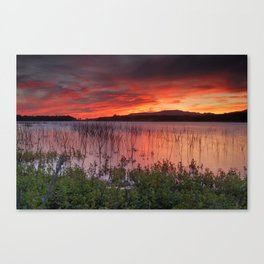 Red sunset at the lake... Canvas Print