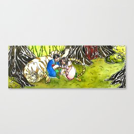 children  and tiger Canvas Print