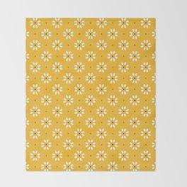 Daisy stitch - yellow Throw Blanket