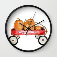 craftberrybush Wall Clocks featuring Red wagon watercolor  by craftberrybush