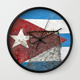 Cuban Flag Mural Wall Clock
