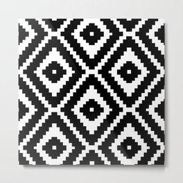 Monochrome Ikat Diamond Pattern Metal Print