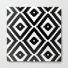 Monochrome Ikat Diamond Pattern Metal Print
