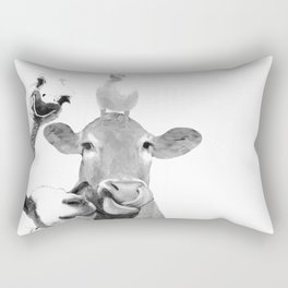 Black and White Farm Animal Friends Rectangular Pillow