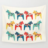 swedish Wall Tapestries featuring Swedish Horses by Running River Design