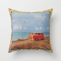 vw bus Throw Pillows featuring THE ORANGE VW BUS III by Bones and Balloons