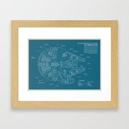 Millennium Falcon blueprint Framed Art Print