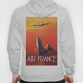 Vintage Mid Century Travel Poster Air France Jet African Islamic Mosque Monochrome Orange Sunset Hoody