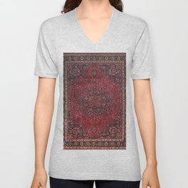 Old Century Persia Authentic Colorful Purple Blue Red Star Blooms Vintage Rug Pattern Unisex V-Neck