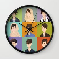 tegan and sara Wall Clocks featuring Tegan and Sara: Montage by Cas.