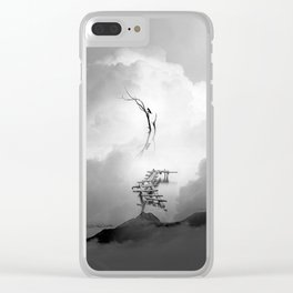 Faith is a Black and White Bird Square Artwork Clear iPhone Case