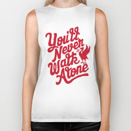 You'll Never Walk Alone - Red on White Biker Tank