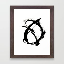 Brushstroke 7: a minimal, abstract, black and white piece Framed Art Print