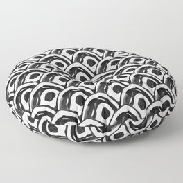 Pattern round single cell nanquim black and white Floor Pillow