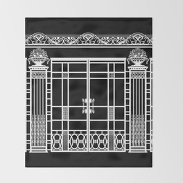 ART DECO, ART NOUVEAU IRONWORK: White on Black Throw Blanket