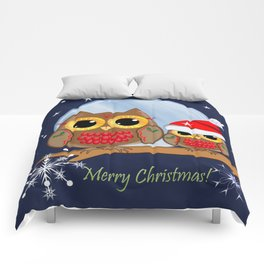 Cute Christmas Owls & Text Comforters