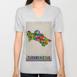 Turkmenistan Map in Watercolor Unisex V-Neck