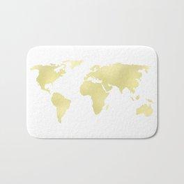 World Map Yellow Gold Shimmery Bath Mat