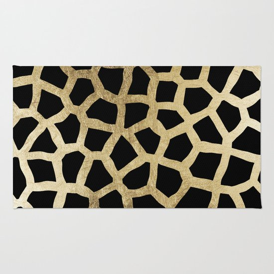 Modern luxury black and gold foil animal print Rug - Modern Luxury Black And Gold Foil Animal Print Rug By Pink Water