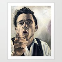 johnny cash Art Prints featuring Johnny Cash by scottmitchell