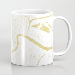 New Orleans White and Gold Map Coffee Mug