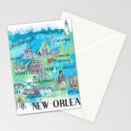 New Orleans Louisiana Favorite Travel Map with Touristic Highlights in colorful retro print Stationery Cards