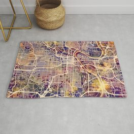 Kansas City Missouri City Map Rug