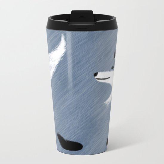 Unique Blue Fox Design Metal Travel Mug