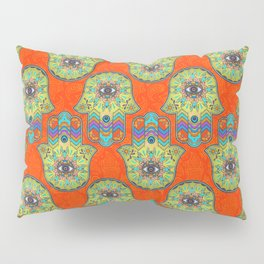 Colorful  Hamsa Hand pattern with paisley Pillow Sham