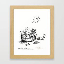 Ape in a Bushel of Puppies Framed Art Print
