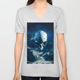 Reaper Moon Rising / 3D render of cratered skull moon in night sky Unisex V-Neck