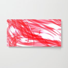 Red and smooth sparkling lines of pink ribbons on the theme of space and abstraction. Metal Print