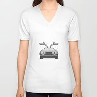 delorean V-neck T-shirts featuring #4 Delorean by Brownjames Prints
